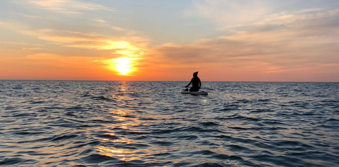 Paddleboarder in front of sunset